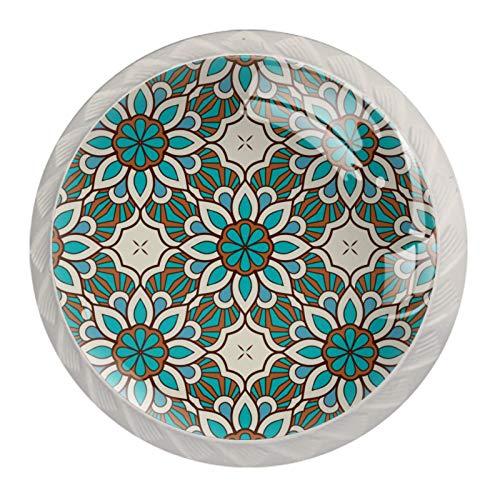 Pomos de cocina para armarios de cocina, perillas de cristal, sin costuras, patrón de mandala colorido (paquete de 4)