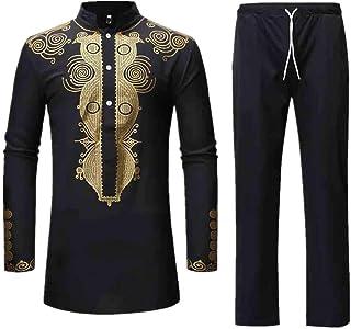 Realdo Mens Long Dashiki Set, 2Pcs Men's West African Traditional National Hot Gold Printed T-Shirt Pants
