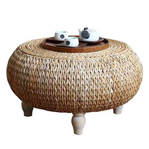 Rattan Coffee Table, Round Solid Wood Home Decoration Low Table, Computer Table, Suitable for Living Room, Balcony, Bay Window (50×50×35cm)