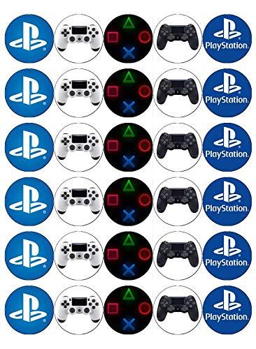 Cupcake-Topper/Kuchendekoration, 30 Stück Playstation-Controller-Tasten mit PS4-Logo, essbares Oblatenpapier
