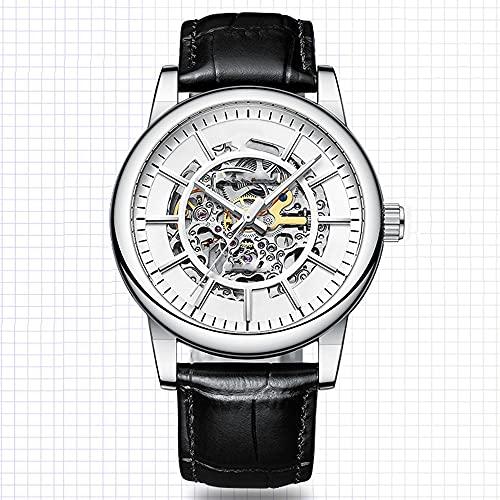 La Moda Relojes Hombre, Negocios Cuarzo Simulado,Relojes De Pulsera Cronografo Diseñador Impermeable ,Acero Inoxidable Cinturón De Malla Relojes De Pulsera (Color : White)