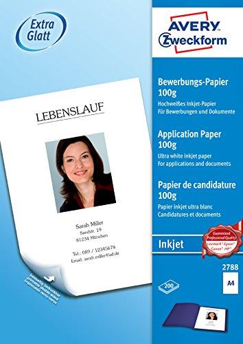 AVERY Zweckform 2788 Inkjet Bewerbungspapier (A4, satiniert, 100 g/m², 200 Blatt)