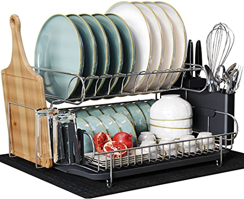 Product Image of the Large 2 Tier Dish Drying Rack, MAJALiS 304 Stainless Steel Dish Rack and Drainboard Set, Dish Drainers for Kitchen Counter with Cutting Board Holder, Cup Holders, Utensil Holder and Drying Mat