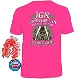 T-Shirt JGA Abschiedstour Bräutigam Größe M magenta + Rosette