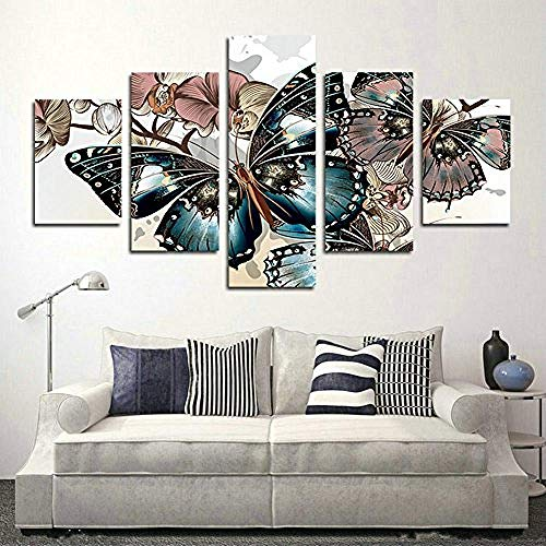 5 Piece Abstract Floral Print Butterfly Oil Painting on Canvas Room Decor Printing The Image Canvas Print Pictures Paintings Artwork Home Decor Ready to Hang-30x40cmx2 30x60cmx2 30x80cmx1