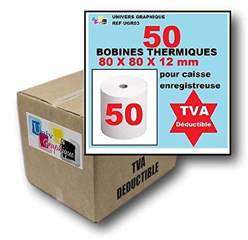 Bobine de 50 rouleaux papier Thermique, 80 x 80 x 12 mm ticket de caisse, pour imprimante de tickets de caisse ou caisse enregistreuse papier blanc haute qualité - Univers graphique réf UGR03 TVA déductible.