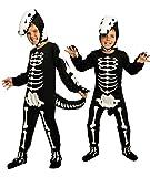 Magicoo Dinosaurier Skelett Kostüm Kinder Jungen inkl. Overall & Kopfteil Gr 92 bis 140 - Skeleton...