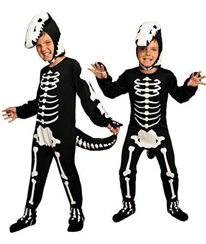 Magicoo Dinosaurier Skelett Kostüm Kinder Jungen inkl. Overall & Kopfteil Gr 92 bis 140 - Skeleton Dino Kostüm Kind (110/116)