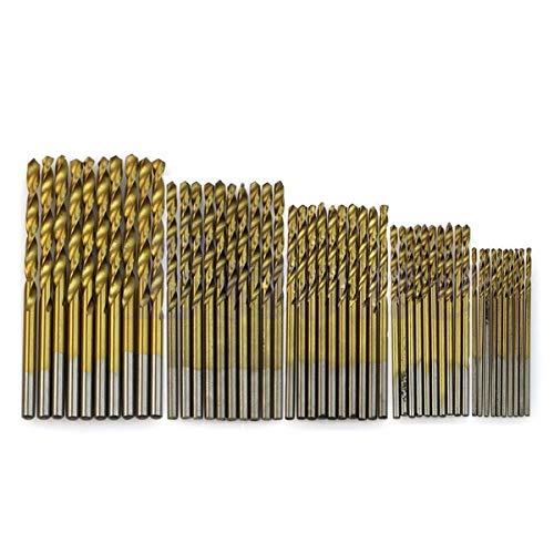 Drill Bit Twist Drill Set 50Pcs 1/1.5/2/2.5/3mm Titanium Coated Hss High Speed Steel Drill Bit Set Titanium for Twist Drill Bit Set Tools Twist Drill by BDDLI (Color : As Show, Size : One Size)