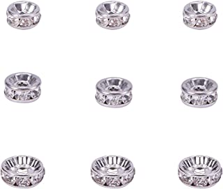 PH PandaHall 30pcs Stainless Steel Rondelle Spacer Beads Crystal Rhinestone Round Rondelle Charms Jewelry Making, 6mm 8mm 10mm