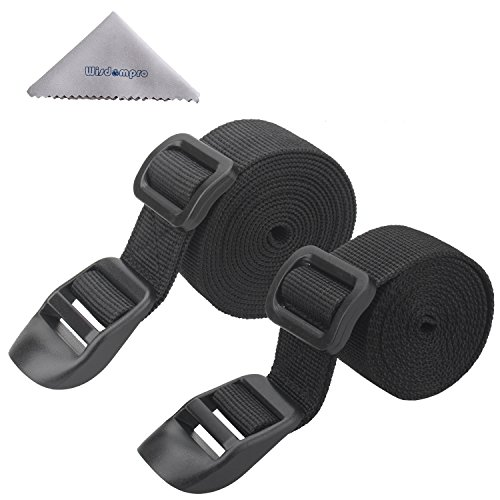 Sleeping Bag Strap, Luggage Strap, Wisdompro 2-Pack of Heavy Duty Straps - Utility Strap for Outdoor Sports, Backpacking, Sleeping Bag Compression, Luggage, Bundling, with Plastic Buckle - 48 inch