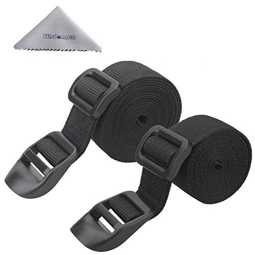 Wisdompro® - 2 correas para saco de dormir, color negro, Negro  (Negro) - W-Poly-SleepBagStrap-Black-48Inch-AMZ