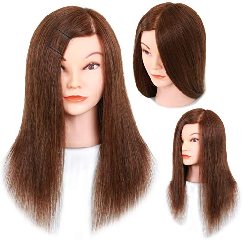 "Mannequin Head with Human Hair - 20-22"" Cosmetology Mannequin Head with 100% Real Human Hair for Braiding Practice Cutting - Manikin Head with Human Hair for Hairdresser (Brown)"