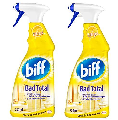 Biff Bad Total Zitrus Badreiniger (für alle Oberflächen) 2er Pack (2 x 750 ml Sprühflasche)