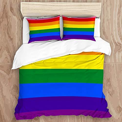 SUGARHE Ropa de Cama Juego de Funda nórdica,Pole LGBT Original 8 Love Colours Gay Pride Rainbow...