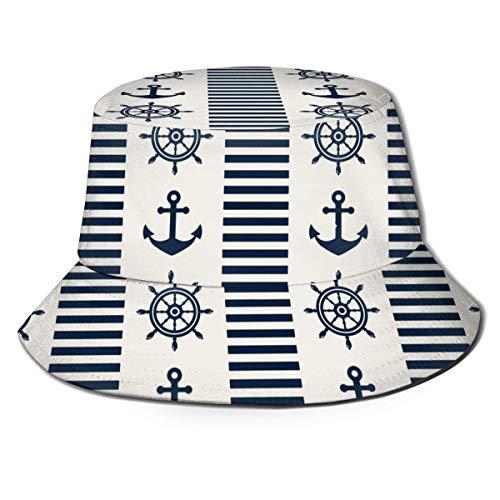 Náutico con Volantes y Anclas Sombrero de Cubo Unisex Sombrero de Pescador al Aire Libre Sombreros de Playa de Viaje Informal