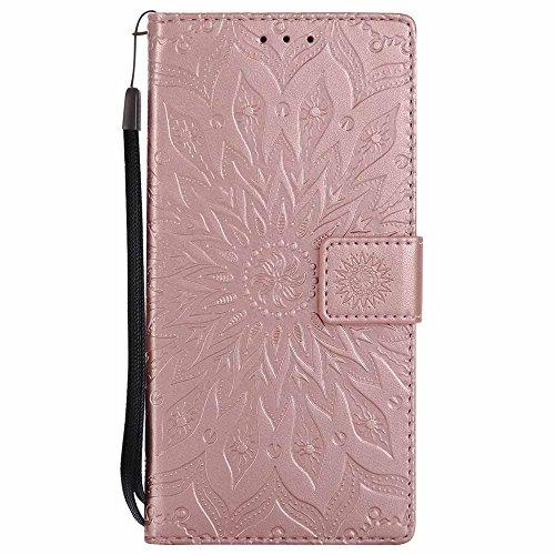 Dfly Xperia E6 / Xperia L1 Hülle, Premium Slim PU Leder Mandala Blume Prägung Muster Flip Hülle Bookstyle Stand Slot Schutzhülle Tasche Wallet Case für Sony Xperia E6 / Xperia L1, Rosen-Gold