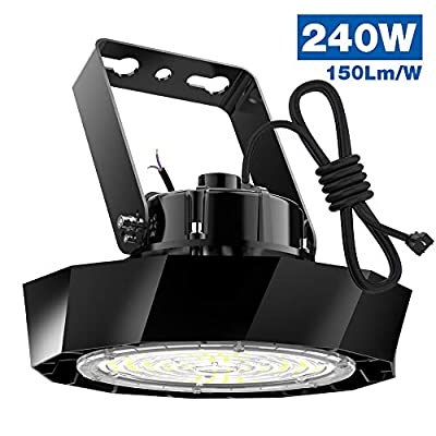 Abodong 240W Led High Bay Light 150LM/W 5000K 1-10V Dimmable 36,000LM Alternative to 1200W MH/HPS with US Plug 8' Cable ETL/DLC Approved LED Shop Lights Commercial Garage Warehouse Gym Area Lighting