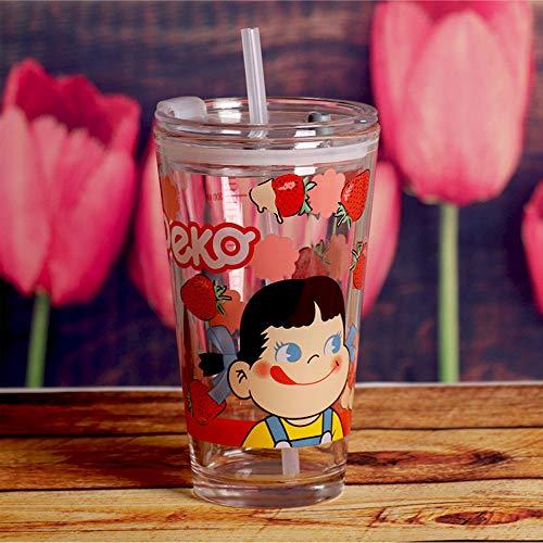 QW Taza de Desayuno de Vidrio Templado Resistente al Calor para niños de 450 ml con Tapa y Taza de Jugo de Leche de café a Escala D
