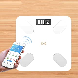 LQH Báscula de baño Báscula, Escala de Salud Humana, Escala de Grasa Corporal electrónica Bluetooth, IMC, 180Kg, Blanca