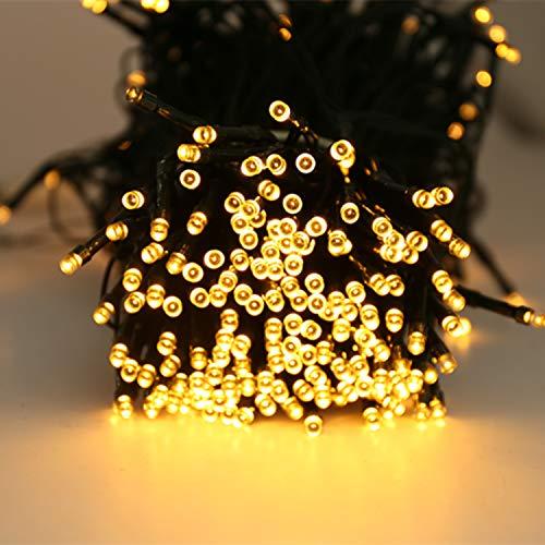 Quntis 40m 300 LED Lichterkette Außen Batterie Timer Warmweiß, IP44 Outdoor Weihnachtsbeleuchtung für Tannenbaum Garten Balkon Terrasse, 8 Modi LED Weihnachtsdeko Innen für Zimmer Fenster Wand Party