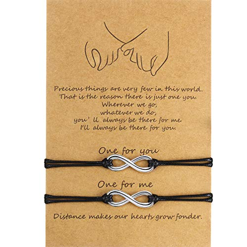 WILLBOND 2 Pieces Promise Friendship Handmade Meaning Distance Matching Bracelet Gift for Best Friend Couple Lover Girls, Adjustable Cord Bracelets with 1 Wish Card (Forever)