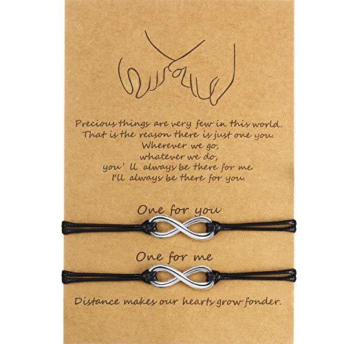 2 Stück Versprechen Freundschaft Handgemachte Bedeutung Abstand Passenden Armband Geschenk für Beste Freundin Paar Liebhaber Mädchen, Verstellbare Schnur Armbänder mit 1 Wunschkarte (Für Immer)