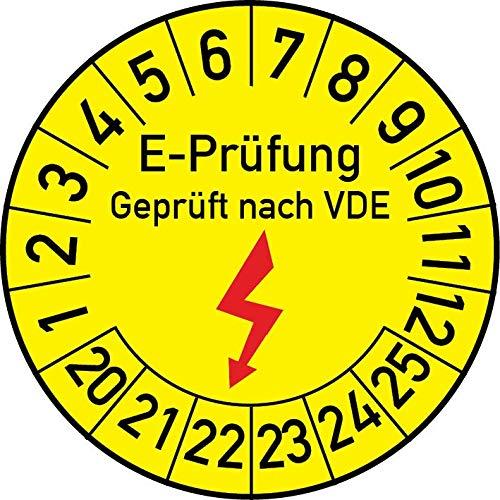 Elektro-Prüfung Geprüft nach VDE Prüfplakette, 100 Stück, in verschiedenen Größen, Prüfetikett Prüfsiegel Plakette Elektroprüfung (20 mm Ø)