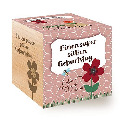 Feel Green Celebrations Ecocube, chocoladebloem, houten kubus met lasergravureEen super schattige verjaardag, duurzaam cadeau-idee, kweekset, Made in Austria