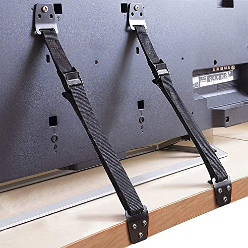 Anti-Tip Furniture and TV Straps, Metal Heavy Duty TV Straps, Adjustable Furniture Straps Furniture Anchors TV Wall Straps for Baby Proofing, Fit Most Flat Screen TVs and Furniture (2 Straps)