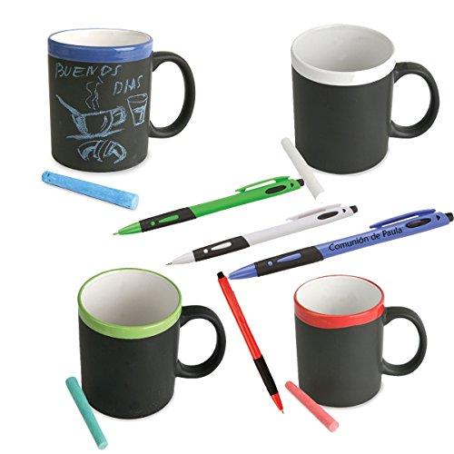 Lote de 10 tazas de pizarra de cerámica con bolígrafo PERSONALIZADO con el texto que quieras. Tazas para regalos de niños y niñas de cualquier evento. Cumpleaños, bodas comuniones