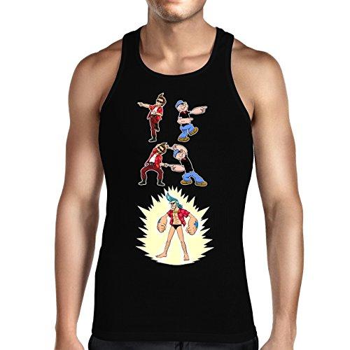 Débardeur Noir One Piece - Popeye parodique Franky, Ace Ventura et Popeye : Fusion YAHAAAAA !!! (Super Splendide :) (Parodie One Piece - Popeye)