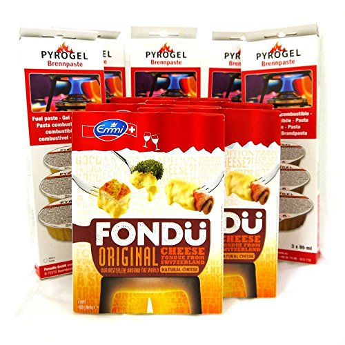 Fondue de queso & Fuel 5 Pack – 5 x Emmi Suiza Queso (400g) y 5 x brennpaste Gel Combustible (3 x 95 ml)
