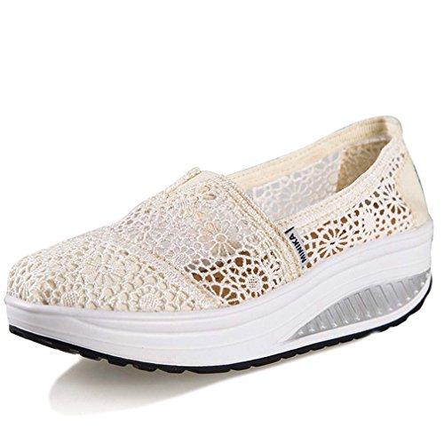 Solshine Zapatos de mujer con plataforma y plataforma para el tiempo libre, zapatillas deportivas, cuña, verano, color Beige, talla 37.5 EU