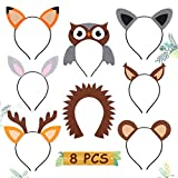 Woodland Animal Headbands Wild One Camping Forest Theme Felt Ears Headbands For Woodland Animal Theme Baby Shower Birthday Party Favors Kids Adults Cosplay Apparel Party Supplies Set of 8