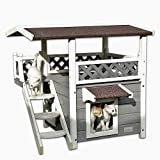 Petsfit 2-Story Weatherproof Outdoor Cat House with Stairs for Cats up to 18 Pounds