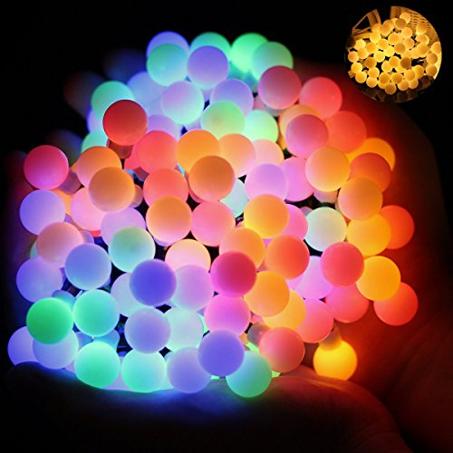 OMGAI Luces de la Cuerda de la Bola, Funcionadas Con Pilas 15.5Feet 60LEDs Para el Patio al aire Libre Interior Decoración de la Navidad del Hogar, Blanco Caliente y Multicolor