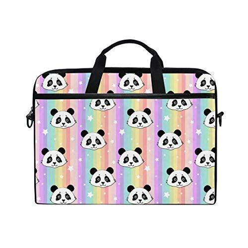 Cute Panda Rainbow Stripes Laptop Shoulder Bag, Purple Pink Star Travel Briefcase for Men Women, Business Portable Carrying Case Computer Laptop Handbag for Notebook Tablet