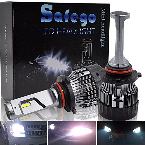 Safego Ampoule 9005/HB3 LED, 60W 5000LM Phares pour Voiture et Moto, Ampoules Auto de Rechange pour Lampes Halogènes et Kit Xenon, DC 12V 6000K-6500K, 2 Ampoules