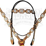 HILASON Horse Western Headstall Breast Collar Set Leather Tan Ab Bling Concho