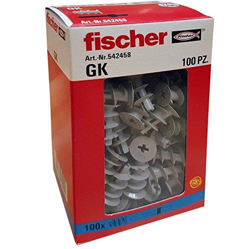 Fischer 542458Dübel für Gipskarton GX, grau, Set von 100Stück