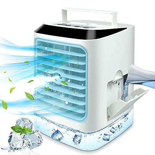 Mini Enfriador de Aire Portátil Aires Acondicionados Móviles Silencioso 3 en 1 Ventilador Humidificador Acondicionador, 3 Niveles de Velocidad del Viento con luz de Noche LED para Hogar, Oficina