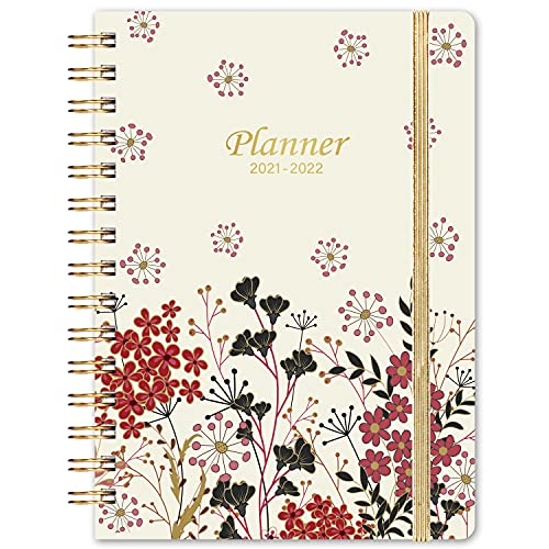 """Planner 2021-2022 - Jul 2021-Jun 2022, 6.3"""" x 8.4"""", Academic Weekly & Monthly Planner, Elastic Closure, Strong Twin-Wire Binding, Monthly Tabs, Inner Pocket, Improving Your Time Management Skill"""