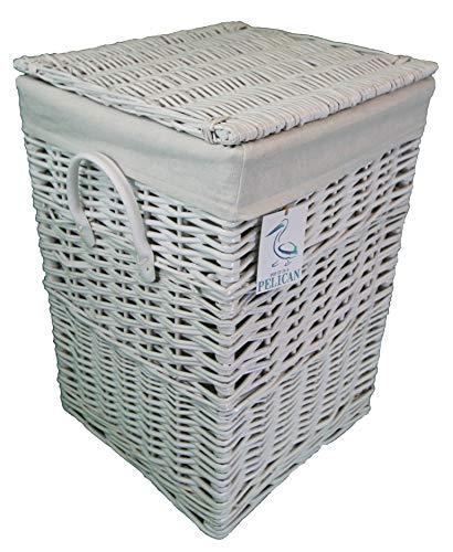 Cesta de mimbre cuadrada Pop-it-in-a-pelican Gris, marrón y blanco. Cesta forrada de algodón. Con tapa de sauce. Lavadero y cesto de ropa., ratán y mimbre, Blanco, 60 ltr