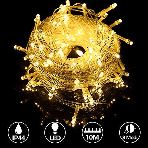 Hengda 10M 100 LED Lichterkette Warmweiß, 8 Modi, Innen und Aussen Beleuchtungdeko, IP44 Wasserdicht, Außenbeleuchtung für Party Weihnachten Kinderzimmer Hochzeit DIY usw