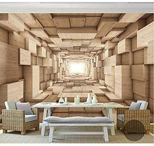 Papel Tapiz para Pared de Fondo Espacial de Madera Maciza 3D Papel Tapiz Interior de la casa Papel Tapiz Moderno de Moda 3D