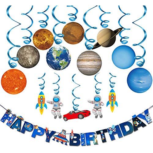 Konsait Confezione da 15 Pianeti / spazi Esterni Sistema Solare da Appendere spirali turbinanti e Buon Compleanno Banner Decorazioni per Bambini Feste di Compleanno, Camera dei Bambini