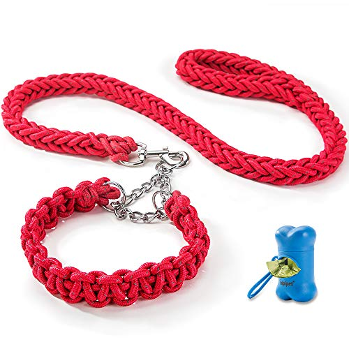 HIPIPET Highly Reflective Dog Leash and Collar Set Braided Explosion-Proof Rope Chain