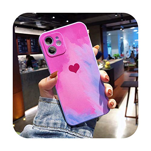Para iPhone 12 Pro Max Watercokor Love Heart Funda para iPhone 11Pro Max XS Max X XR 8 7 Plus Soft Liquid Silicone Back Cover-T4-Para iPhone 11