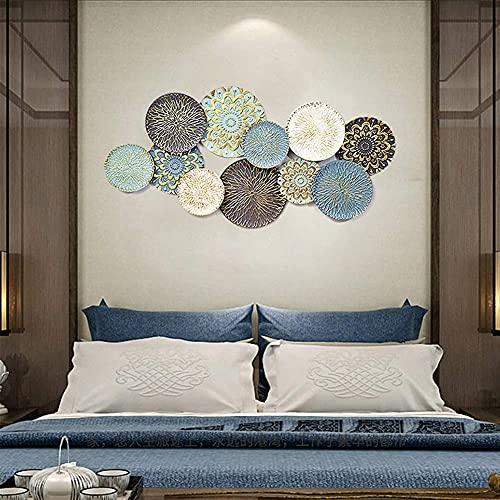 KDMB Eisen Wandskulpturen, Metallrunden Wanddekor Wandaufkleber Moderne dreidimensionale Sofa Hintergrundwand für Home Hotel Dekoration, hängende Schlaufen auf der Rückseite